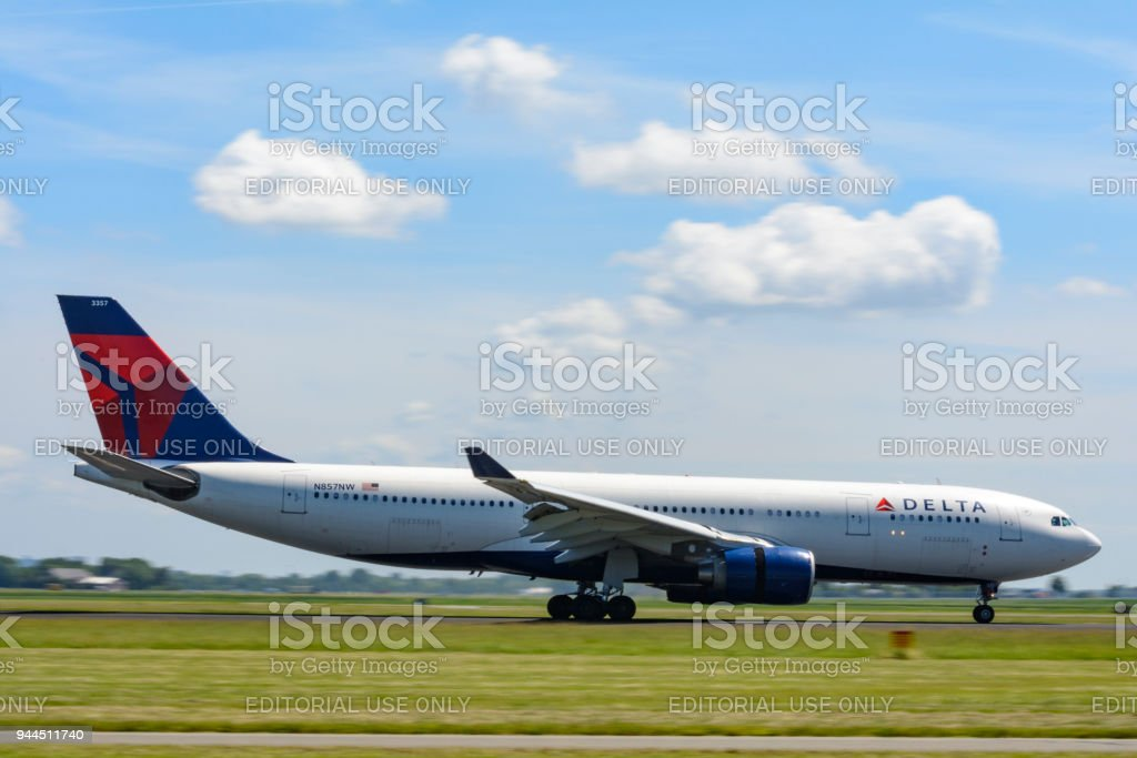 Delta Airlines Airbus A330 airplane landing stock photo