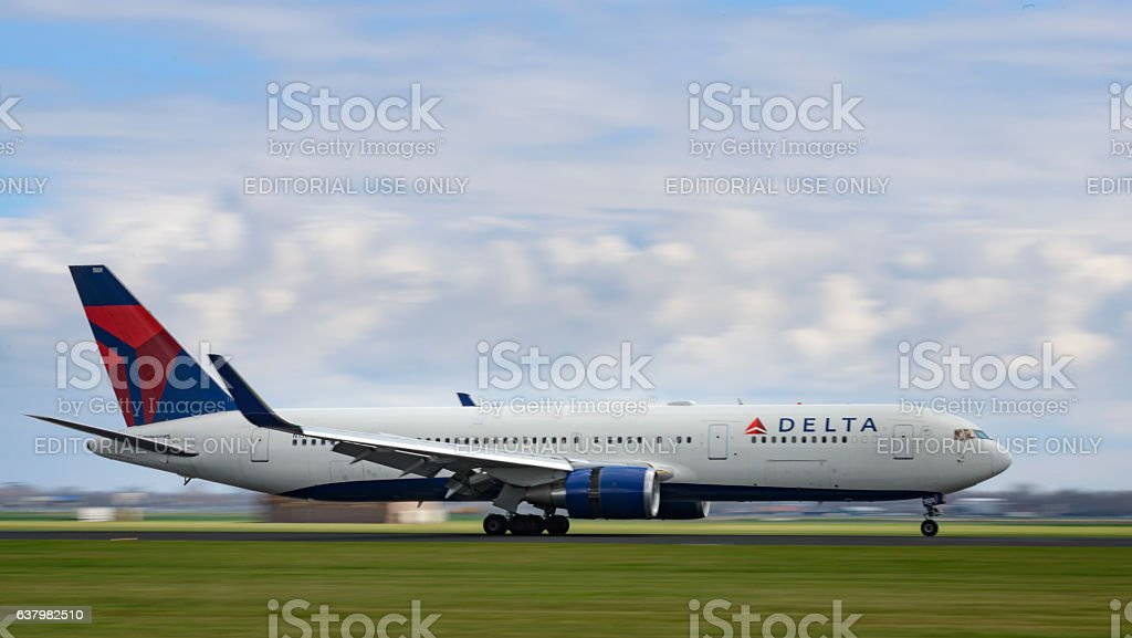 Delta Airlines Boeing 767 airplane landing stock photo