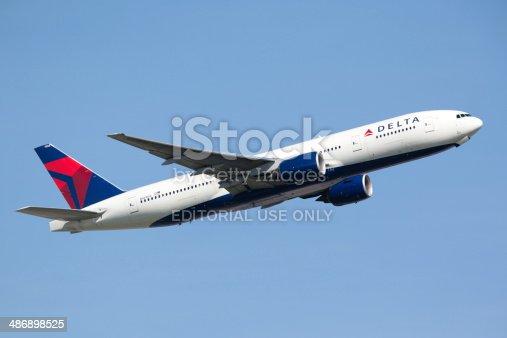 Frankfurt, Germany - June 3, 2010: Delta Airlines Boeing 777-200LR taking off from the Frankfurt International Airport.