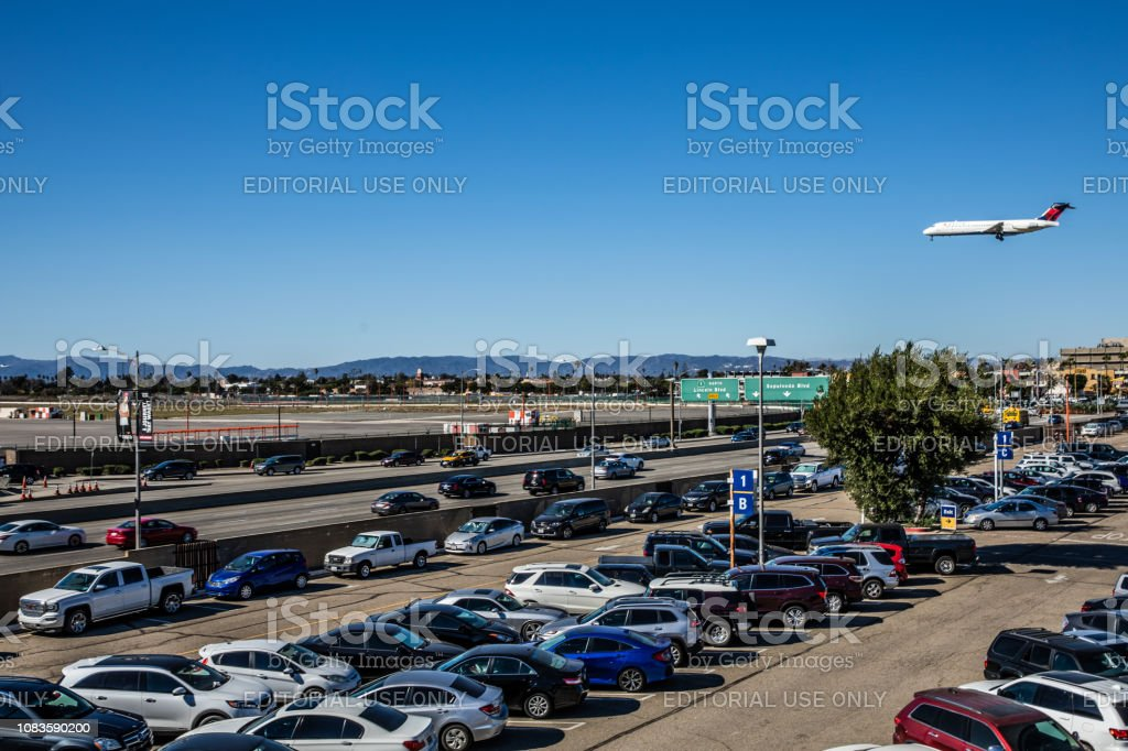 Delta Airlines landing in Los Angeles - LAX airport stock photo