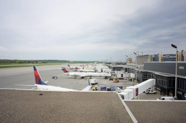 Delta airplanes at Minneapolis-St. Paul International Airport stock photo