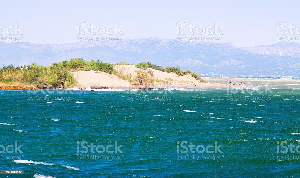 Delta of Ebro river in summer stock photo