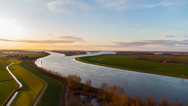 Delta of the river IJssel in Overijssel during sunset after a beautiful winter day stock photo