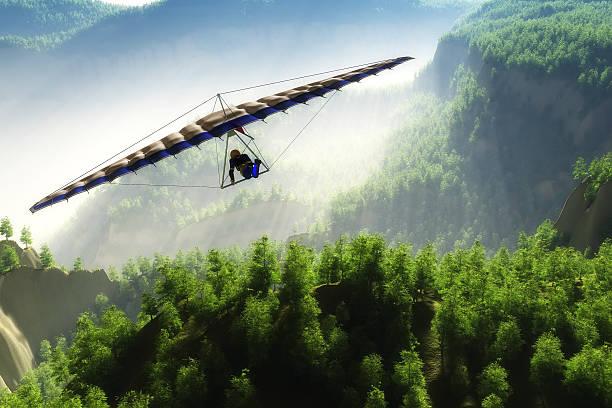 Deltoplan Glider flight over the landscape.3D render paragliding stock pictures, royalty-free photos & images
