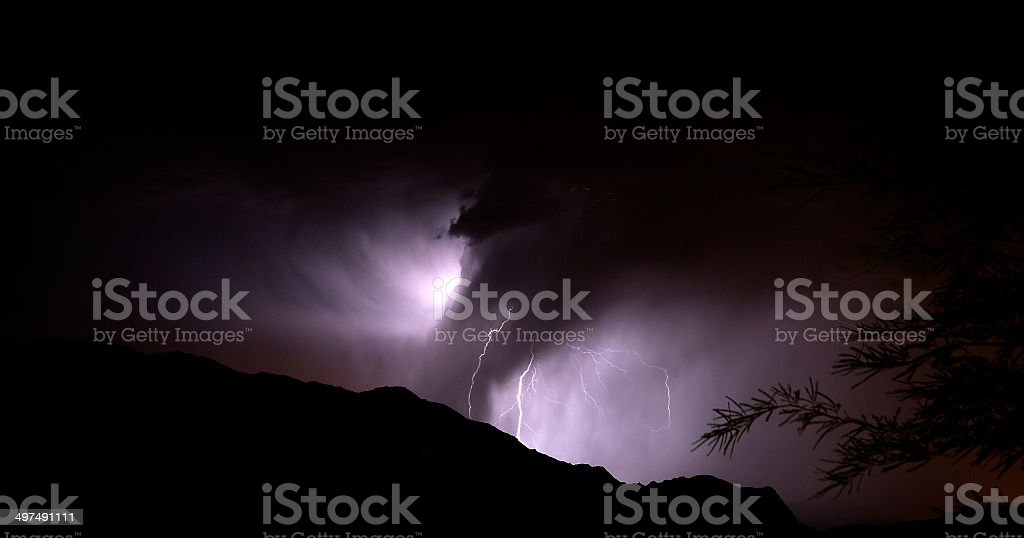 Deluge with Lightning stock photo