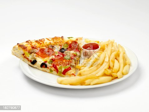 Deluxe Pizza Slice With French Fries Stock Photo More Pictures Of Baked Istock