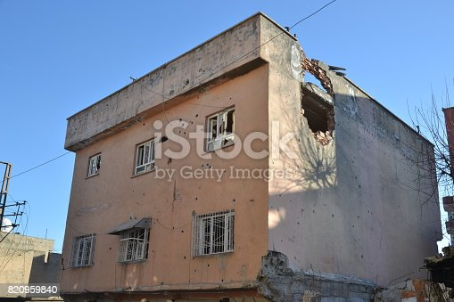 istock Demaged house at the Terrorist Attack 820959840