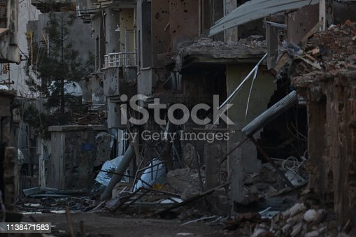 istock Demaged House With the Terrorist Bomb Attack 1138471583