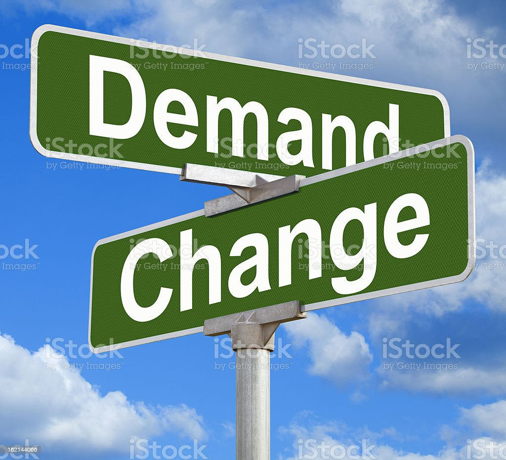 Demand Change Street Sign stock photo