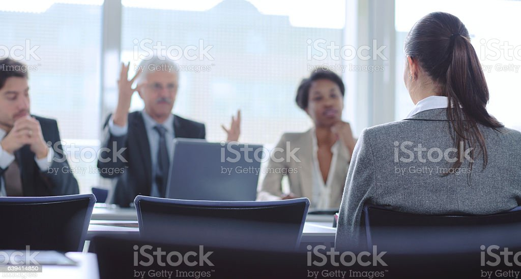 Demanding job interview stock photo