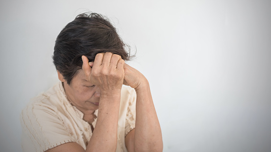 874789168 istock photo Dementia, Alzheimer's disease elderly senior patient (old aged women) with depression, mental stress illness, memory loss, schizophrenia symptom 1162046980