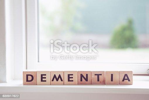 istock Dementia sign in a window 635917622