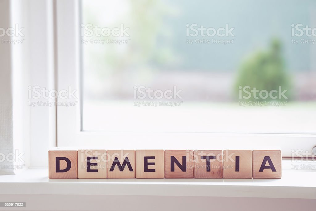 Dementia sign in a window stock photo