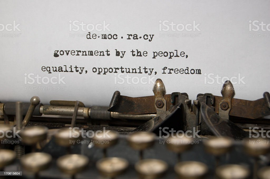 Democracy - a Definition on antique typewriter royalty-free stock photo