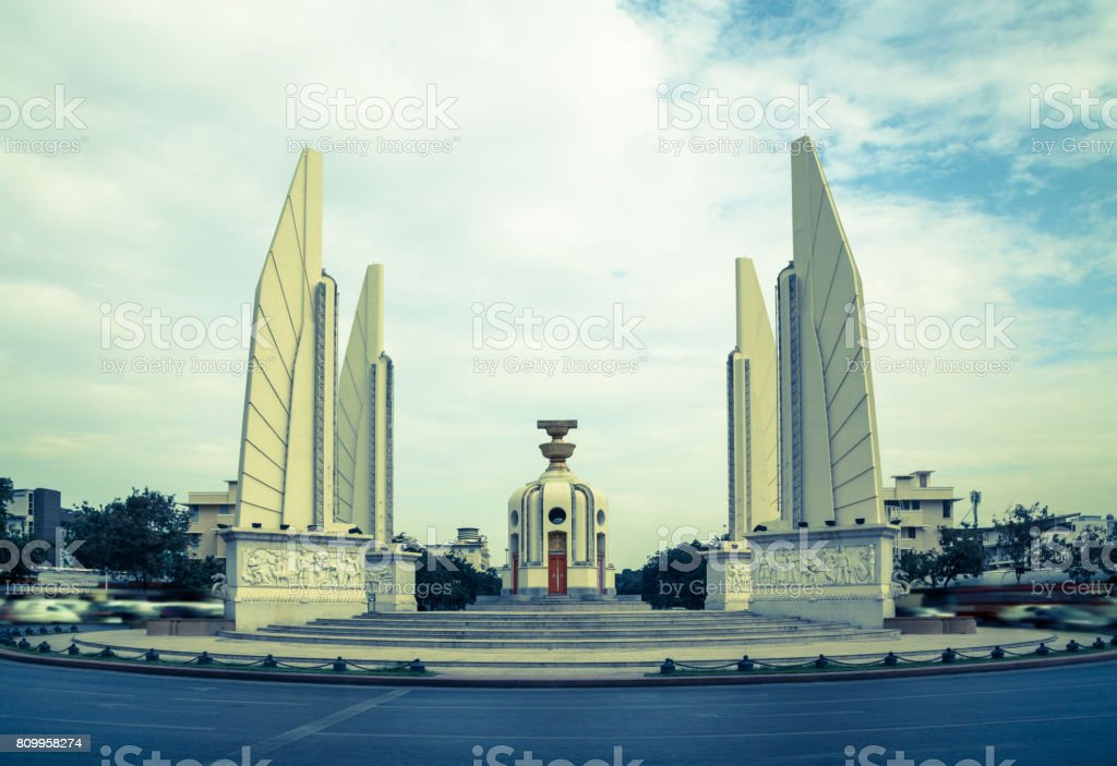 Democracy Monument Bangkok attraction Panorama stock photo