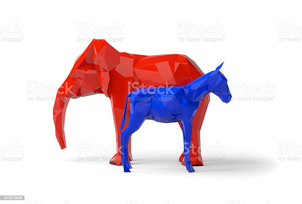 Democrat and republican party symbols stock photo