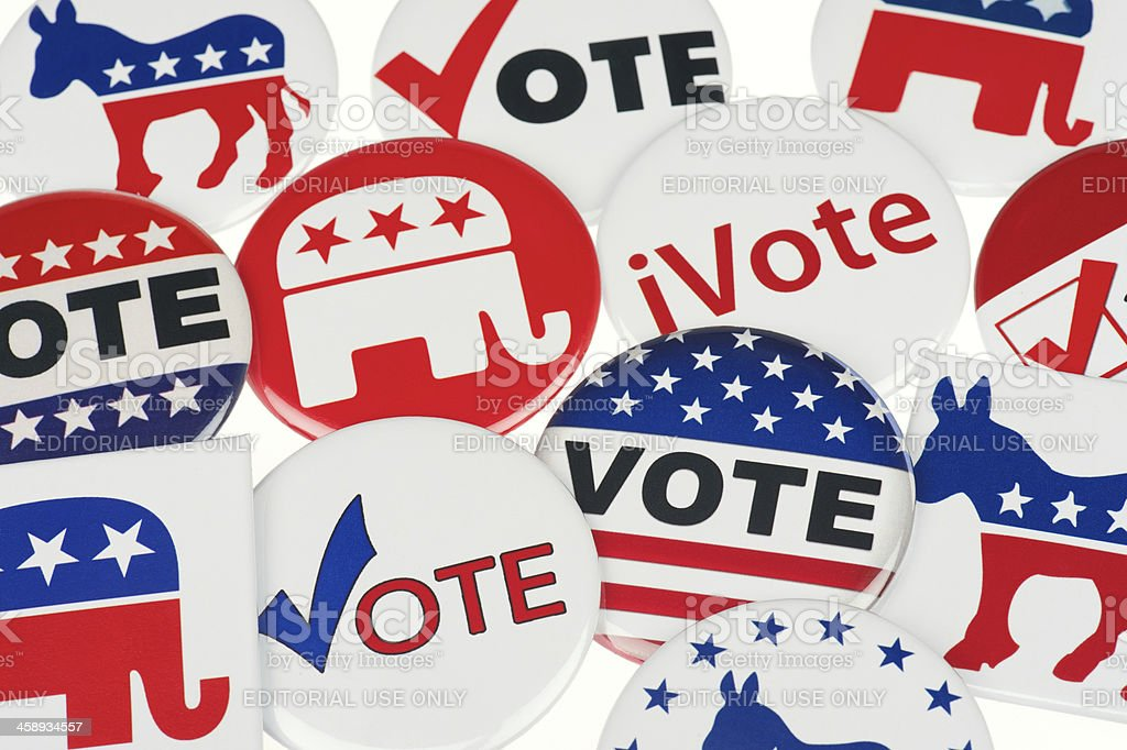 Democrat and Republican Vote Badges Full Frame White Background stock photo