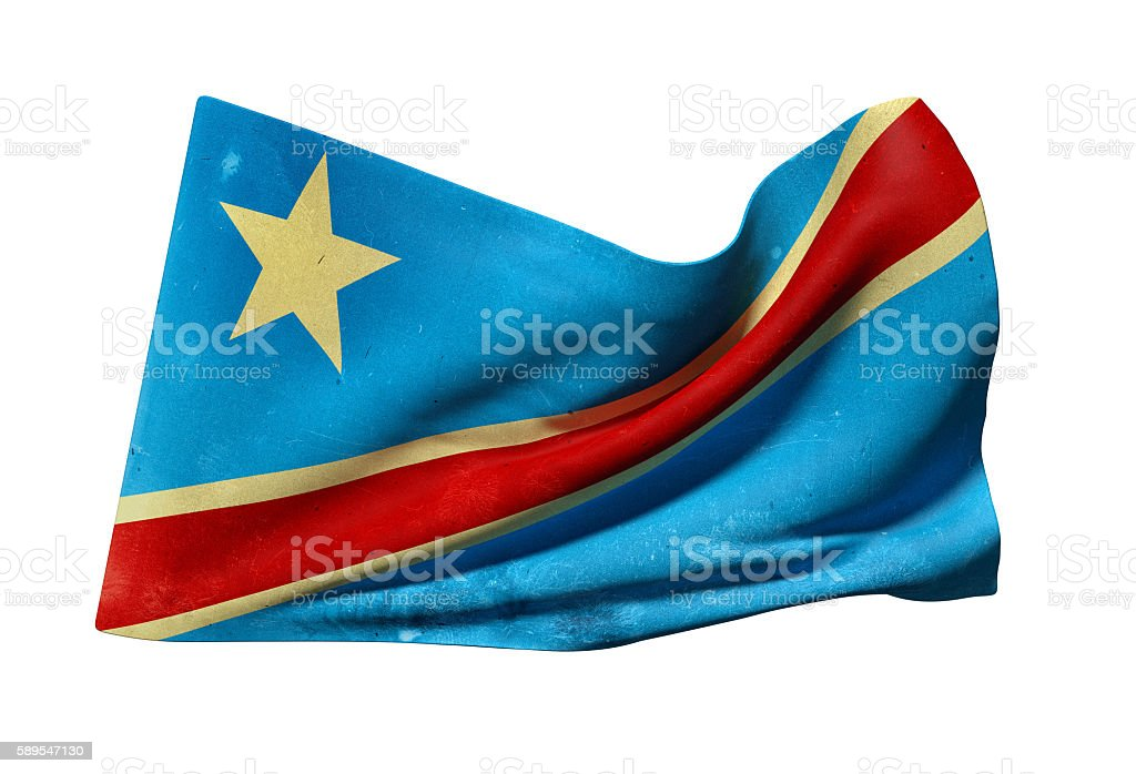 Democratic Republic of Congo flag waving stock photo