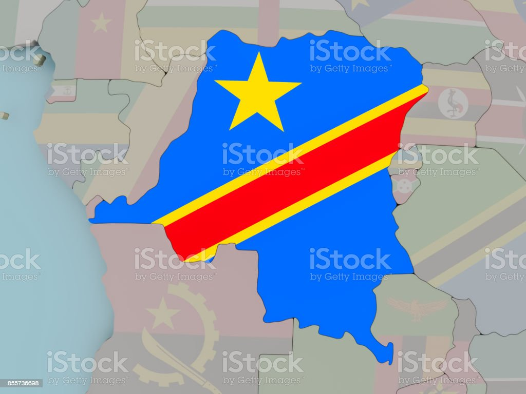 Democratic Republic of Congo on political globe with flag stock photo