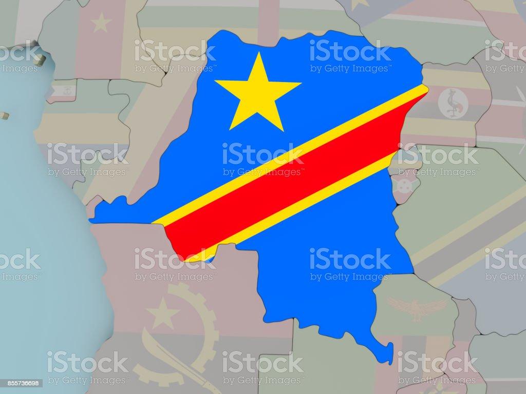 Demokratische Republik Kongo auf politische Globus mit Flagge – Foto