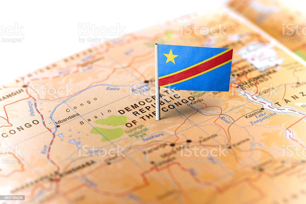 Democratic Republic of Congo pinned on the map with flag stock photo