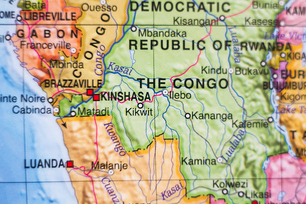 democratic republic of the congo country map . - democratic republic of the congo stock photos and pictures