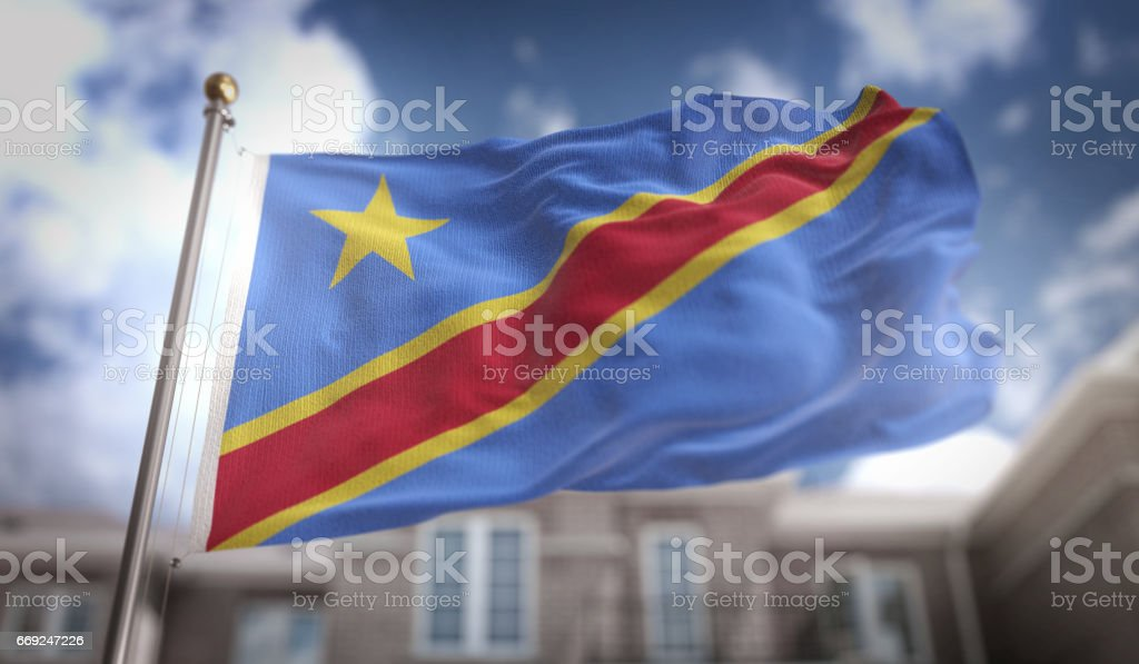 Democratic Republic of the Congo  Flag 3D Rendering on Blue Sky Building Background stock photo