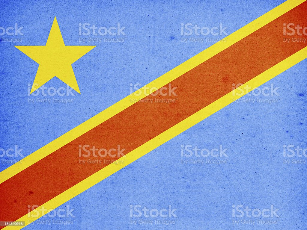 Democratic Republic of the Congo Flag Close-Up (High Resolution Image) stock photo