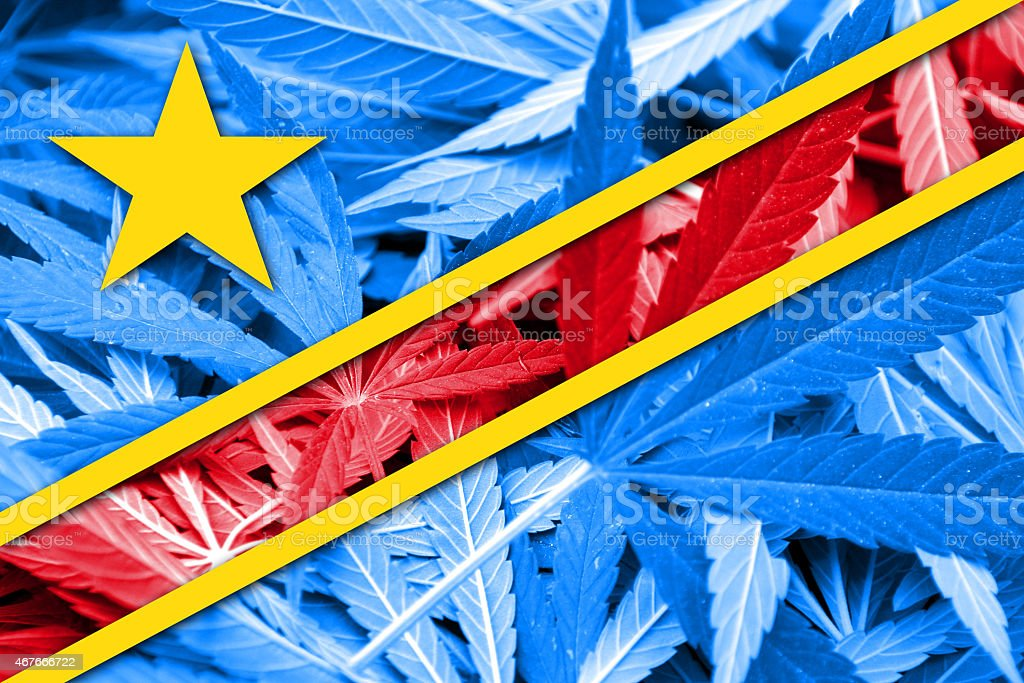 Democratic Republic of the Congo Flag on cannabis background. stock photo