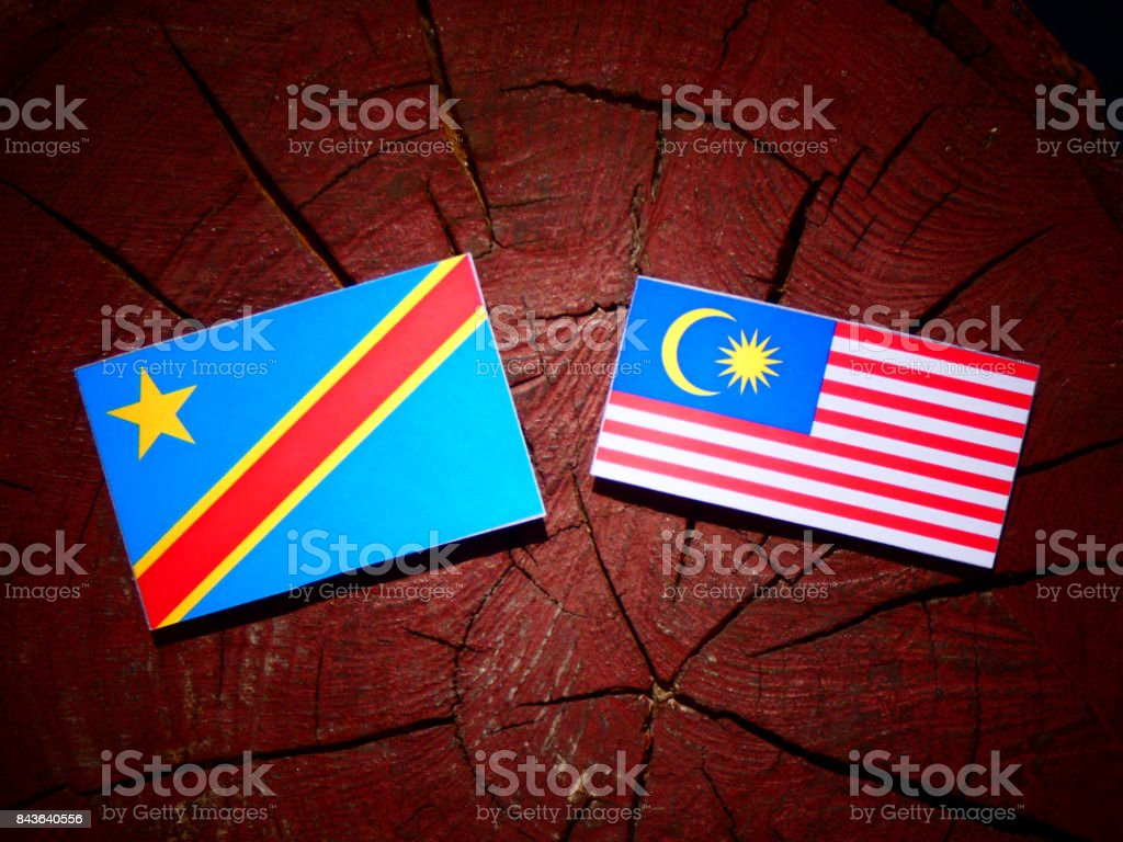 Democratic Republic of the Congo flag with Malaysian flag on a tree stump isolated stock photo
