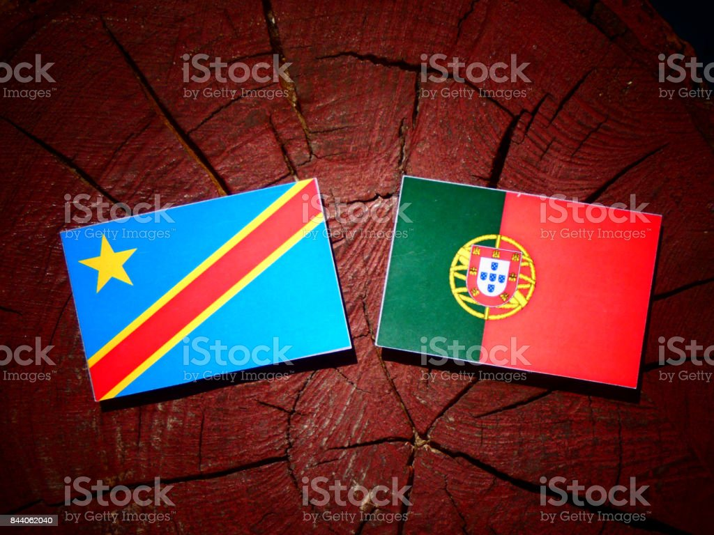 Democratic Republic of the Congo flag with Portuguese flag on a tree stump isolated stock photo
