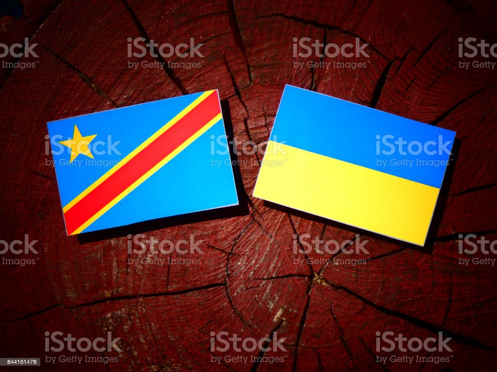 Democratic Republic of the Congo flag with Ukrainian flag on a tree stump isolated stock photo