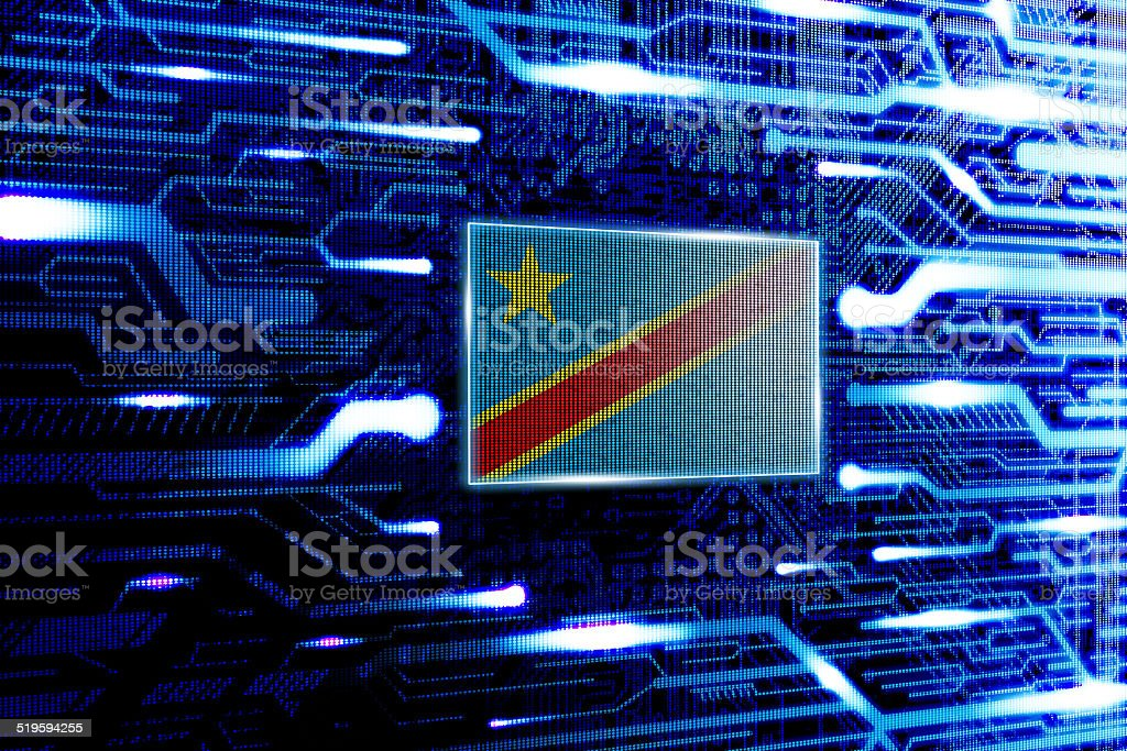 Democratic Republic of the Congo national official state flag stock photo