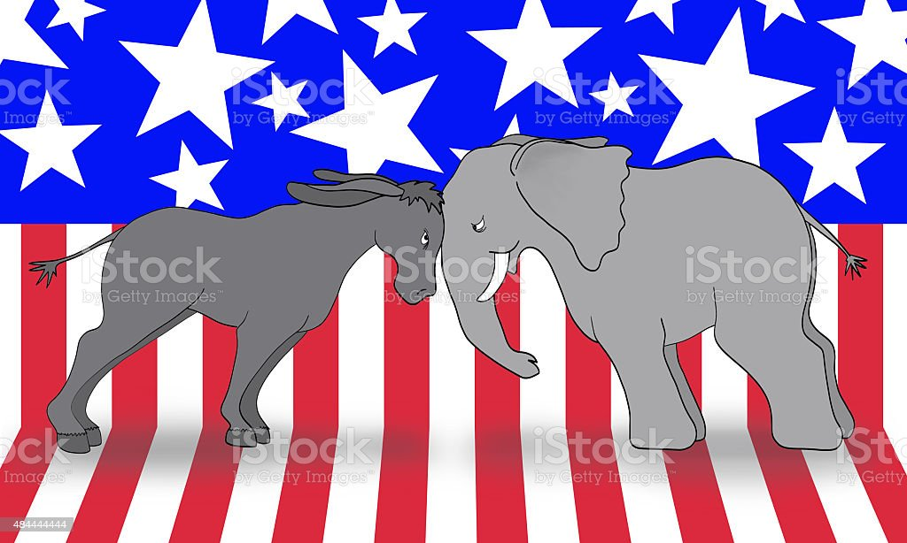 Democrats vs Republican Debate The United States donkey (democratic symbol) and elephant (republican symbol) pressing their heads in political debate.  The background is a stars and stripes banner. 2015 Stock Photo