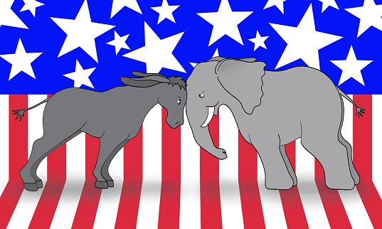 Democrats Vs Republican Debate Stock Photo - Download Image Now