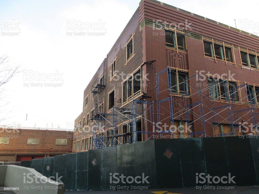 Demolish construction, for New Developement Kent-Ave Williamsburg close to Williamsburg-Bridge stock photo
