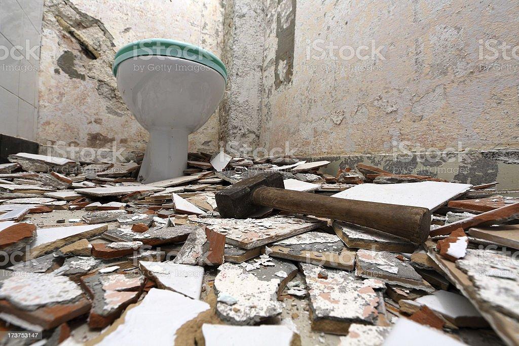 Demolished bathroom royalty-free stock photo