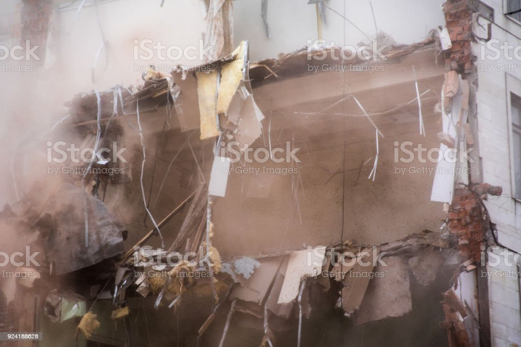 Demolished Building Floors Destroyed industrial building. Floor Fragment. Demolition of buildings in urban environments Accidents and Disasters Stock Photo