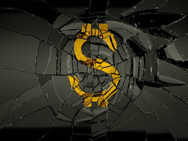 Demolished dollar symbol and broken glass. Economy and recession Demolished dollar symbol and broken glass. Economy and recession devaluation stock pictures, royalty-free photos & images