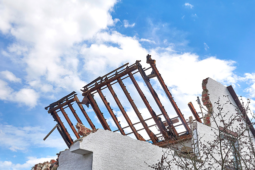 Demolished house, roof truss