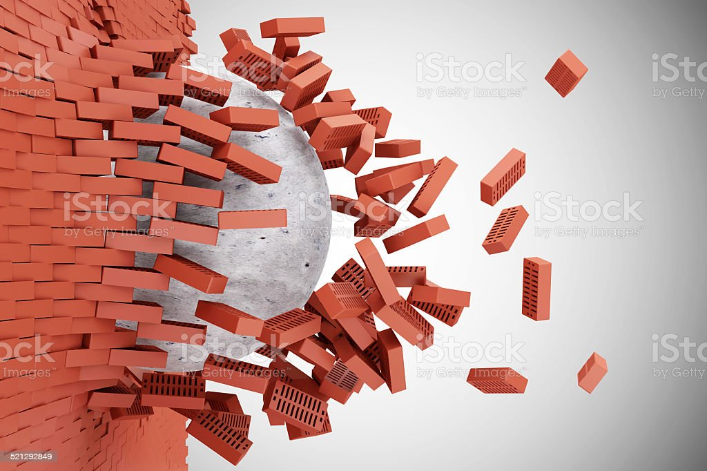Demolished Red Brick Wall by Concrete Ball on gradient background stock photo