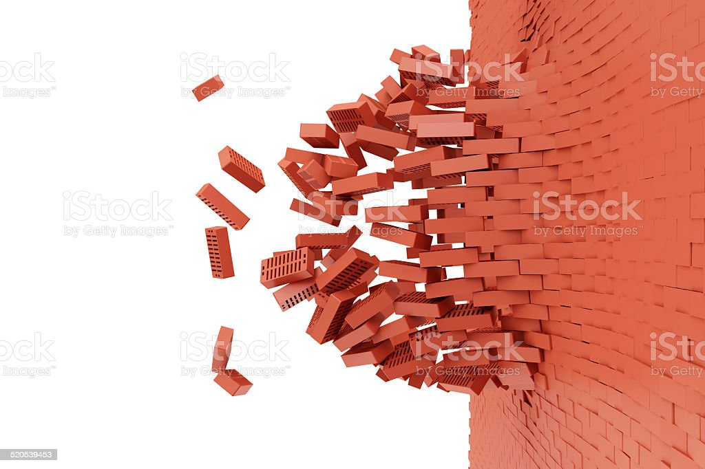 Demolished Red Brick Wall isolated on white background stock photo