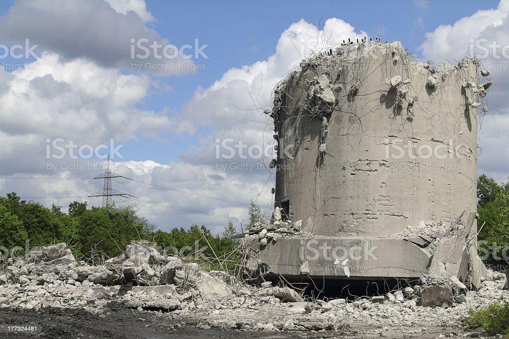 demolished tower stock photo