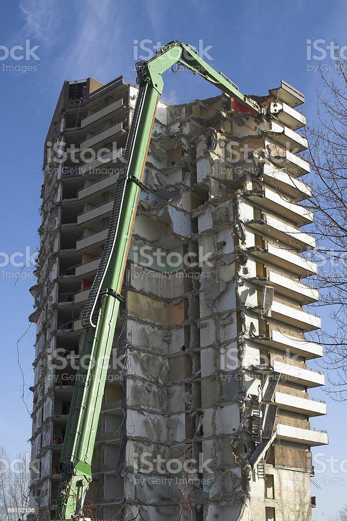 Demolishing flat stock photo