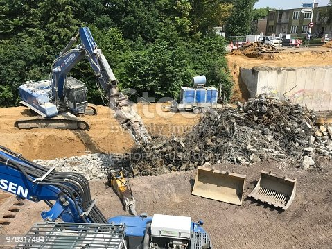 Kerkrade, the Netherlands, - June 05, 2018. Demolishing of an old highway bride in the city.