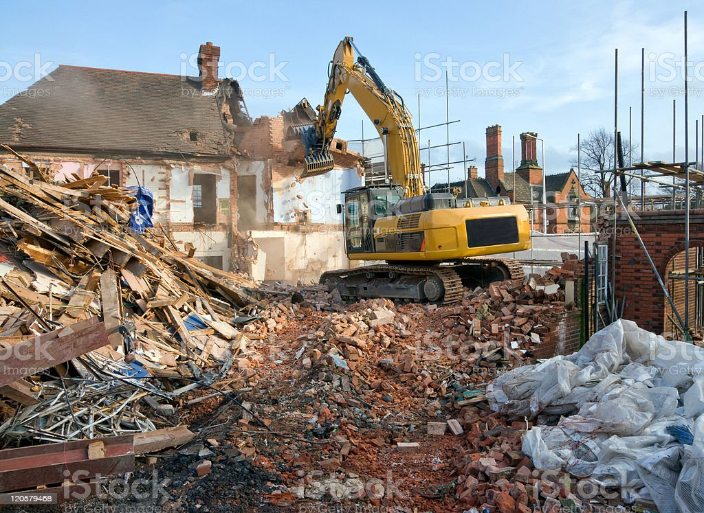 Demolishing Old Buildings. stock photo