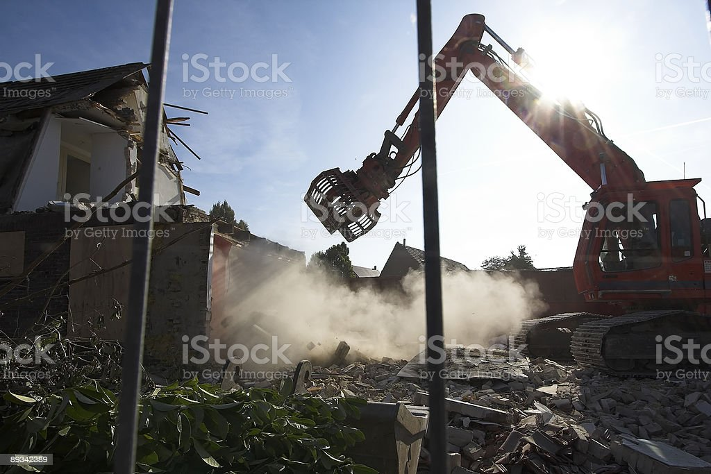 Demolishing old labour houses! stock photo