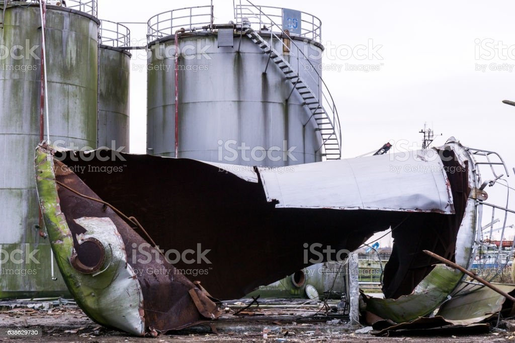 demolision of industrial buildings stock photo