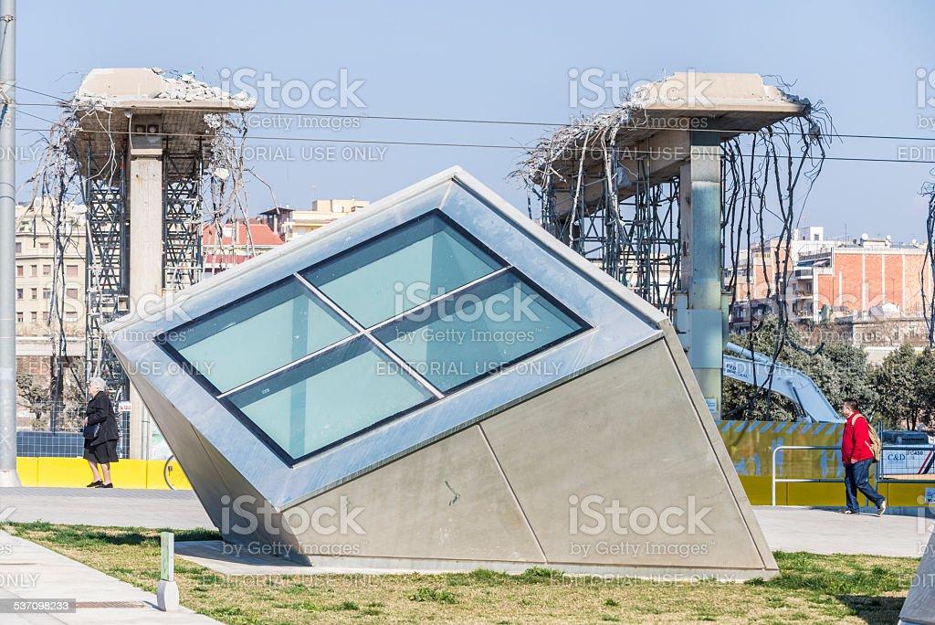 Demolition of a bridge stock photo