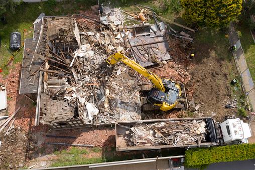demolition  of a house in Sydney, Australia.